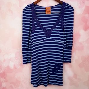 Free People Blue Striped Lace V Neck Top